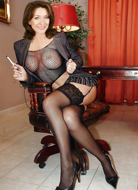 Cherie Lunghi boobs show in fishnet blouse in office