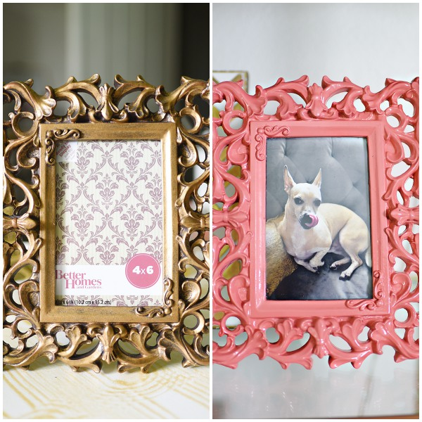 Bring in bold pops of color on accessories such as picture frames. They really stand out, plus they're inexpensive and take about 10-15 minutes to spray paint.