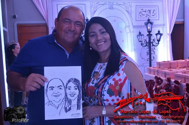 Caricatura na hora da festa com Marcelo Lopes de Lopes
