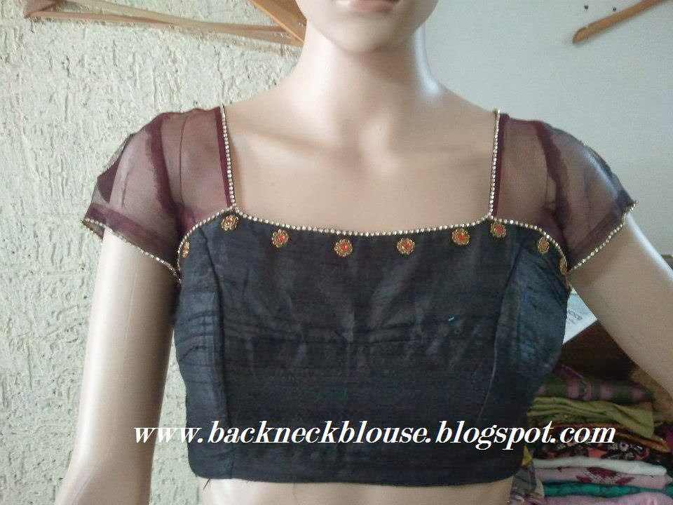 black stone work front neck blouse