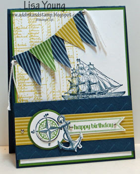 Stampin' Up! The Open Sea stamp set. Nautical birthday card. Handmade masculine birthday card by Lisa Young, Add Ink and Stamp