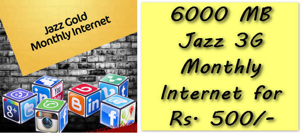Get 6GB Monthly Jazz Internet for Rs. 500 Only