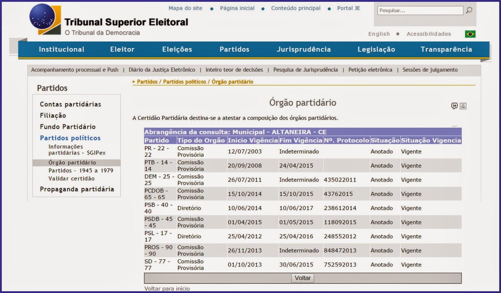 5b414ab7258 Os 11 partidos com filiados em Altaneira têm até hoje (14 04) para enviar  via sistema do Tribunal Superior Eleitoral (TSE) a relação de seus filiados.