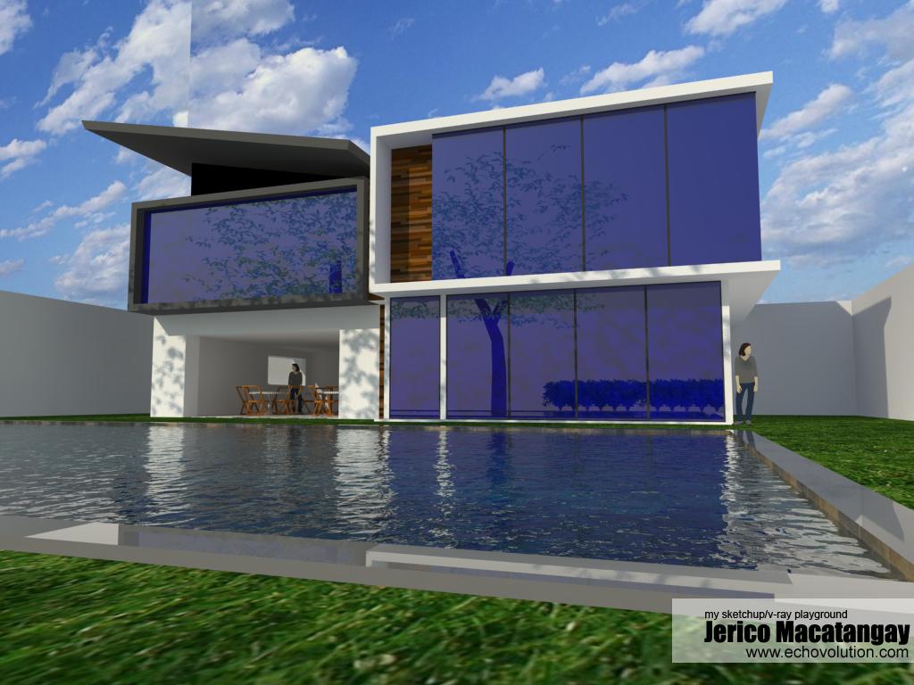 modern house design 2 my sketchup v ray playground. Black Bedroom Furniture Sets. Home Design Ideas