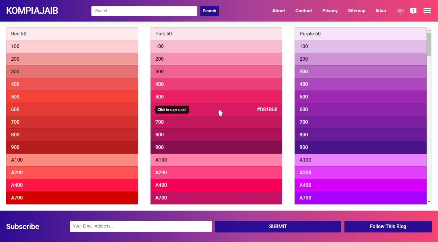 Menyimpan Material Design Color Palette Di Blog