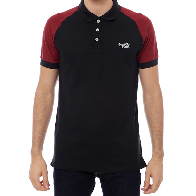 Polo Shirt Raglan Kerah Pria Premium Black JAZZ