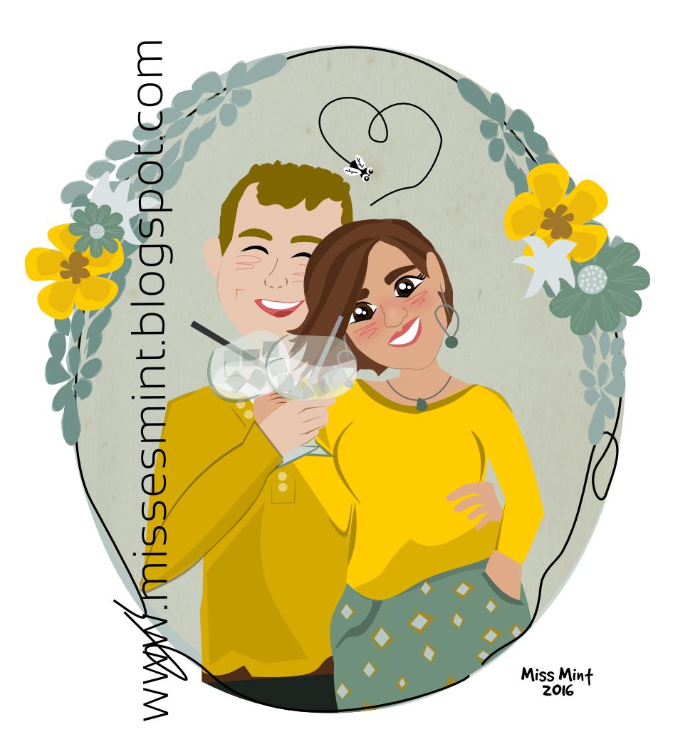 regalos personalizados para novios, ilustraciones personalizadas Miss Mint