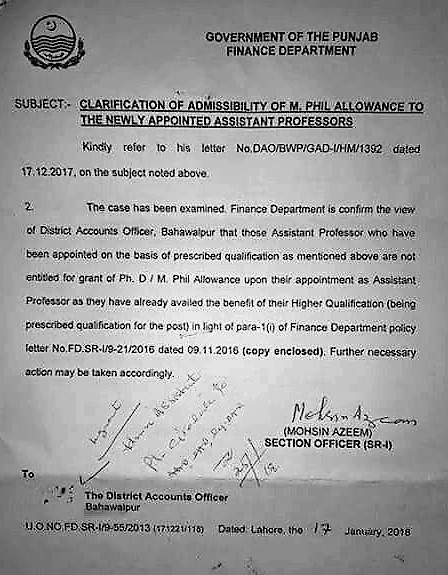 CLARIFICATION OF ADMISSIBILITY OF M.PHIL ALLOWANCE TO THE NEWLY APPOINTED ASSISTANT PROFESSORS