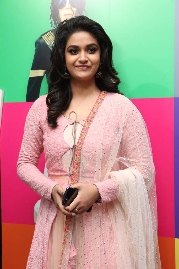 Keerthi Suresh In Pink Dress At Silicon Live Art Museum Launch
