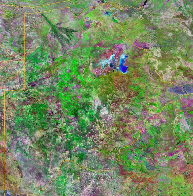Gambar Peta Negara Botswana tampak dari satelit