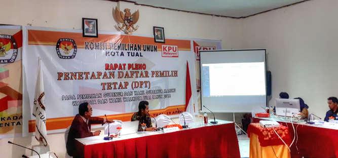 KPU Kota Tual menetapkan daftar pemilih tetap (DPT) Pemilihan Gubernur dan Wakil Gubernur Maluku, Walikota dan Wakil Walikota Tual Tahun 2018 sebanyak 40.058 pemilih.