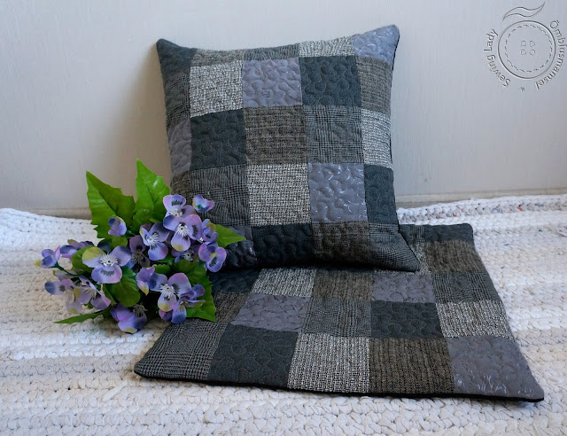grey patchwork pillow