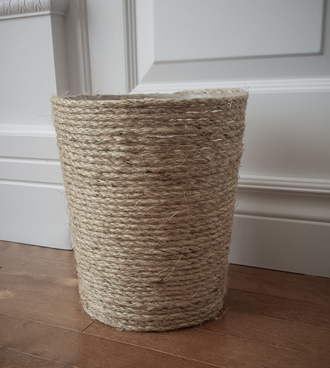 Sisal Trash Can | Waste bin | Upgrade | Rustic | Easy cheap fast DIY | Poubelle | Salle de bain | Home Decor