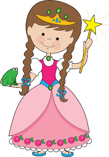 Clipart image of a little princess holding a frog in her hand
