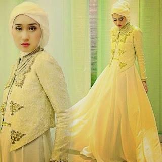 Baju Kebaya Muslim Dress Songket Kuning