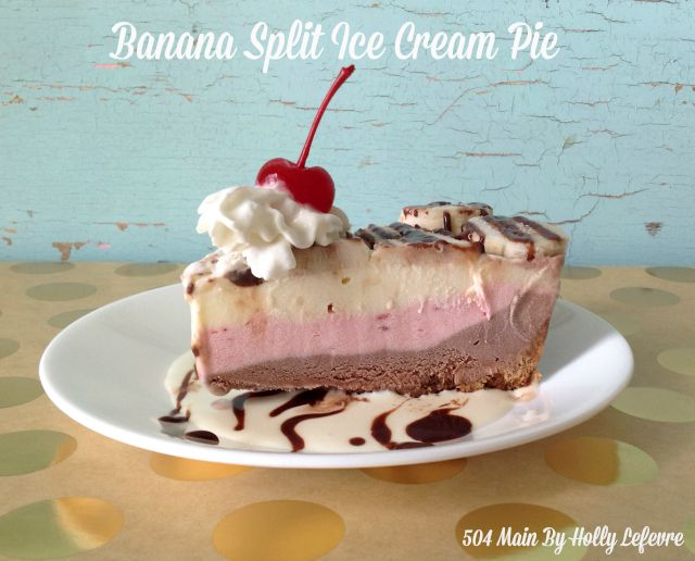 Traditional banana split flavors come together in a pie.
