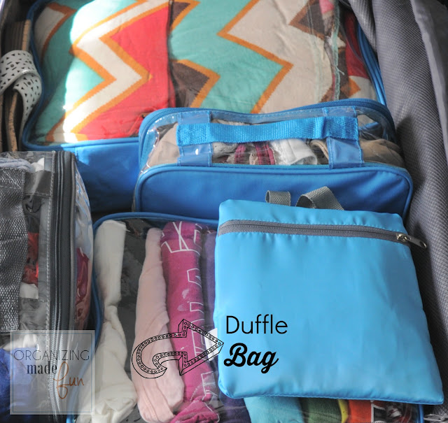 Duffle Bag that folds flat to throw into suitcase :: OrganizingMadeFun.com