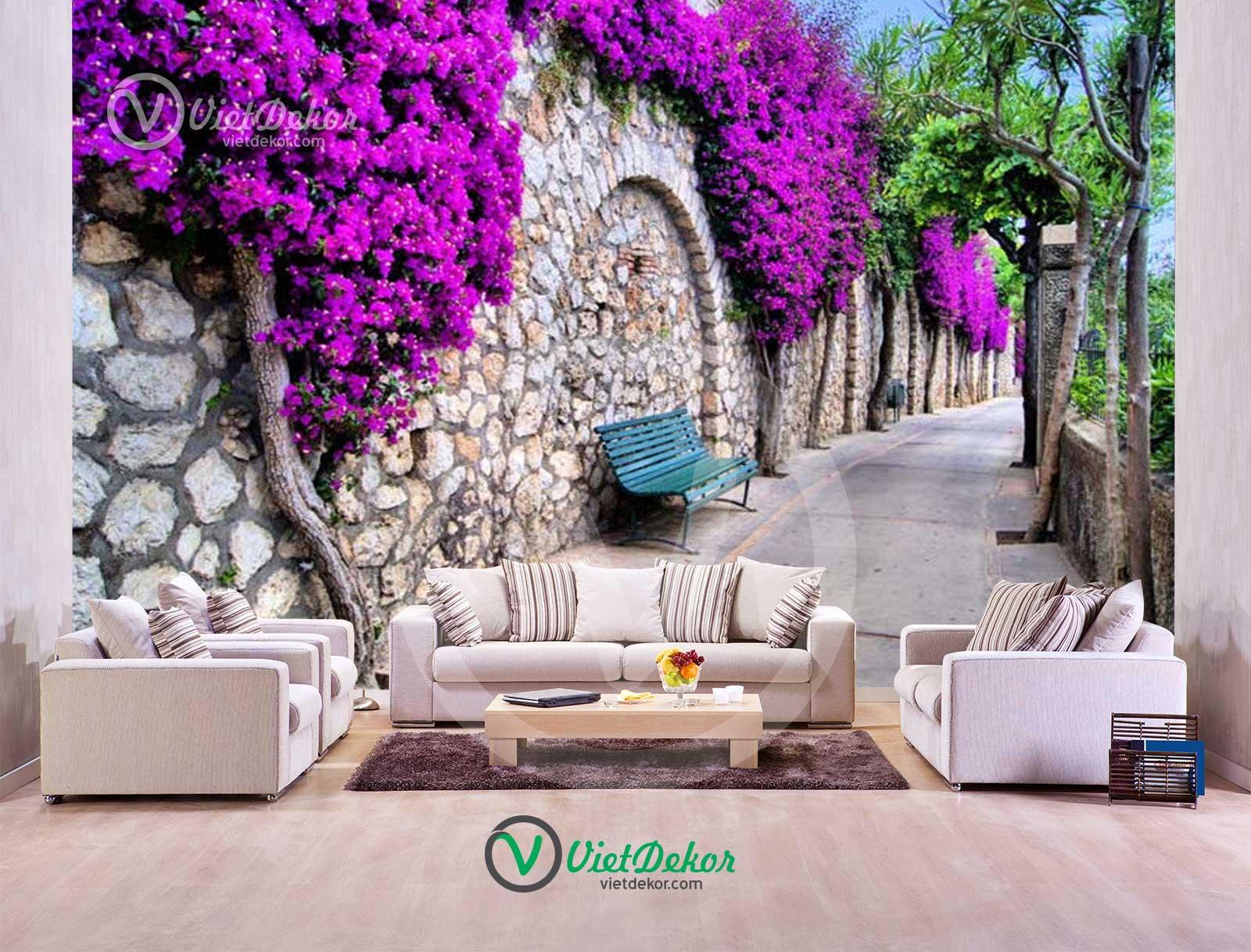 Tranh dán tường 3d Màu tím hoa tường đường mòn