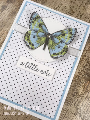 Hand-stamped polka dot butterfly card created with the Butterfly Gala stamp set and Botanical Butterfly Designer Series Paper by Stampin' Up!