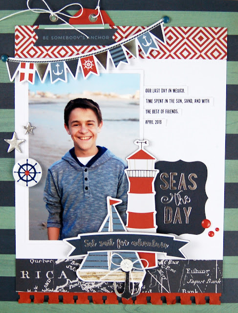 """Seas the Day"" #scrapbooking layout by Jen Gallacher for SCT Magazine. Instructional video is included and supplies are linked. #scrapbooking"