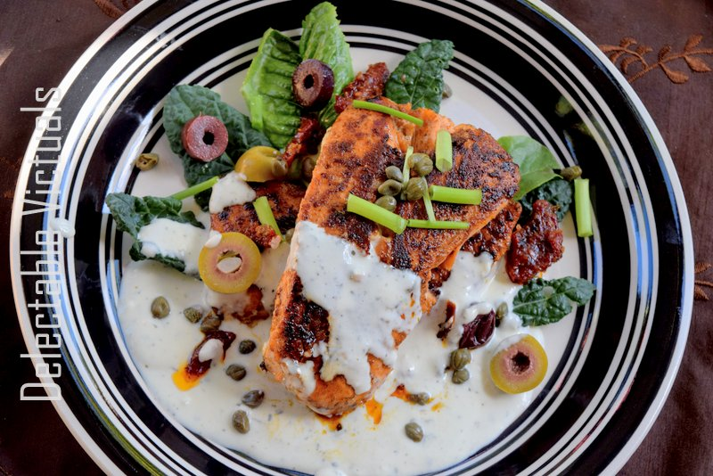 Delectable Victuals: Spicy Pan-Seared Salmon with Feta Sauce