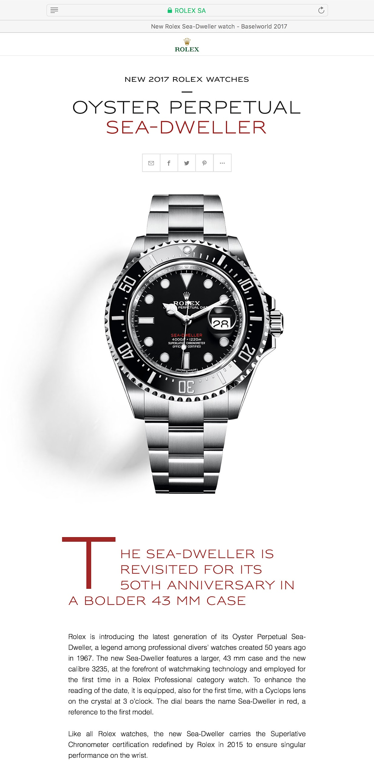 Rolex Sea Dweller 2017 Waiting List