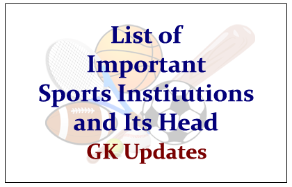 List of Important Sports Institutions and Its Head