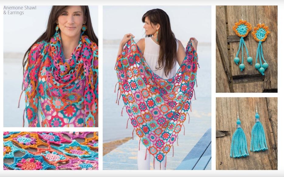 Anemone Shawl and Earrings Crochet Pattern