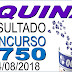 Resultado da Quina concurso 4750 (14/08/2018)