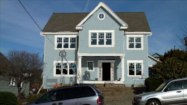 White Walls Grey Trim Exterior
