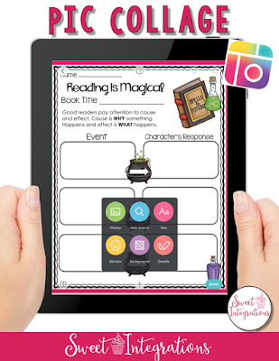 ipad image used to describe PicCollage for Book Reviews