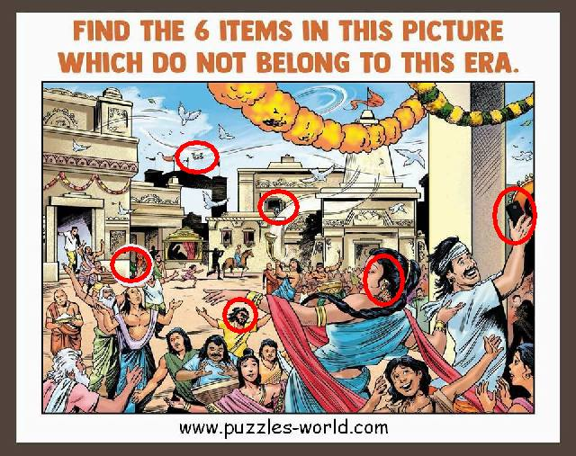 Find the 6 items in this picture answers