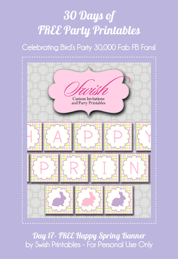 Free Printable Happy Spring Party Banner  - via BirdsParty.com