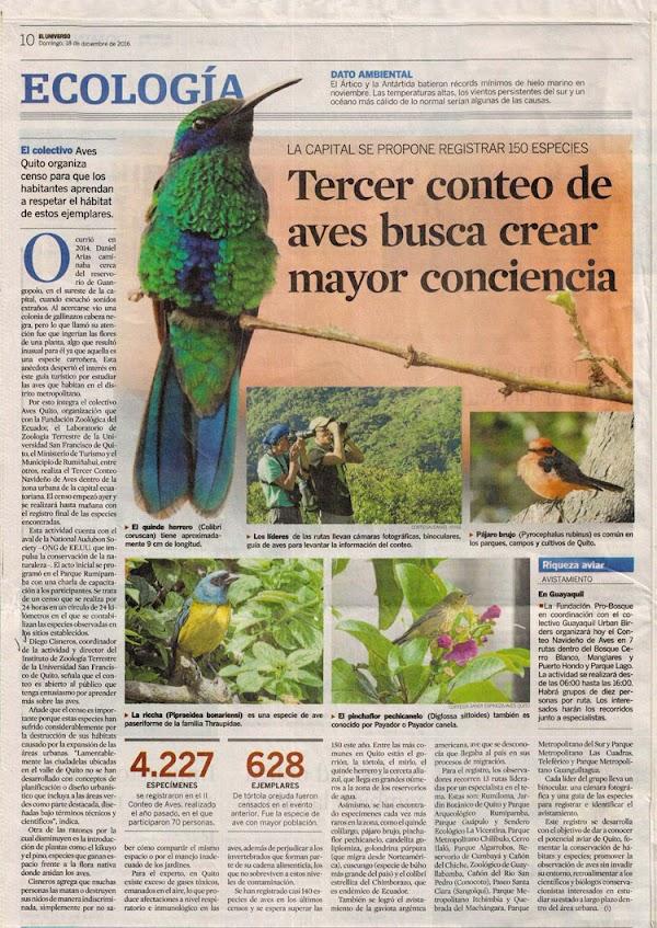 Tercer conteo de aves busca crear mayor conciencia