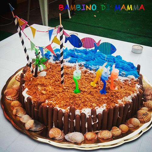 Bambino di mamma torta di compleanno con mare e spiaggia for Decorazioni torte tema mare