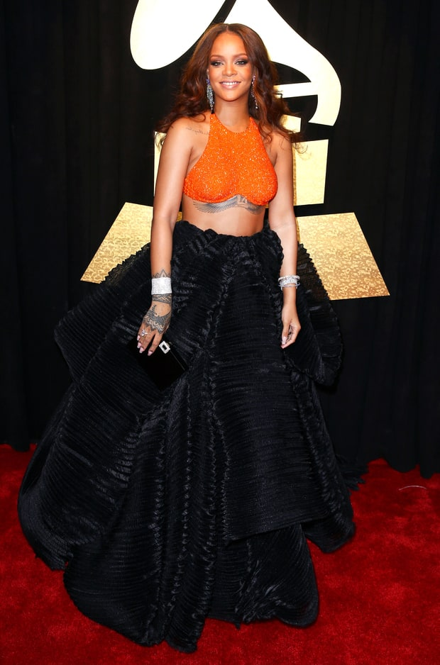 Rihanna bares toned torso at the 2017 Grammy Awards