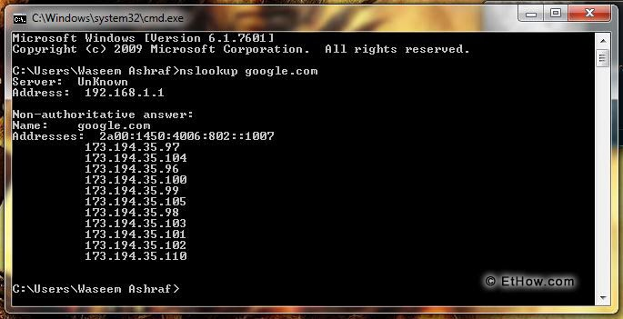 Find the IP addresses of the websites with nslookup and cmd.