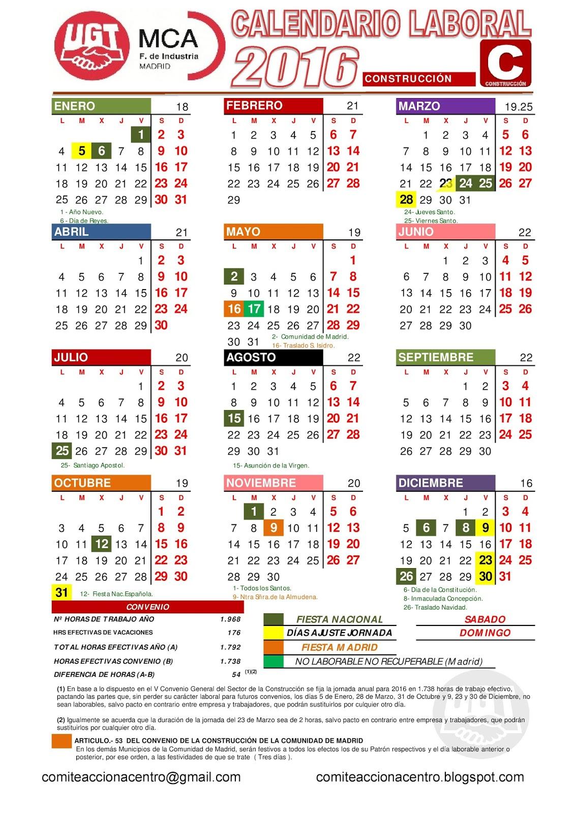 Calendario Laboral De La Construccion.Comite Acciona Centro Calendario Laboral 2016 Construccion Madrid