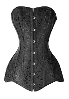 black brocade steampunk corset long overbust