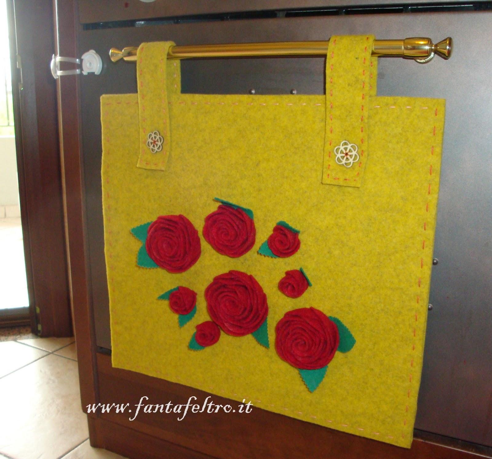 Fanta feltro pannello copri forno con rose for Pannello portaoggetti neonato amazon