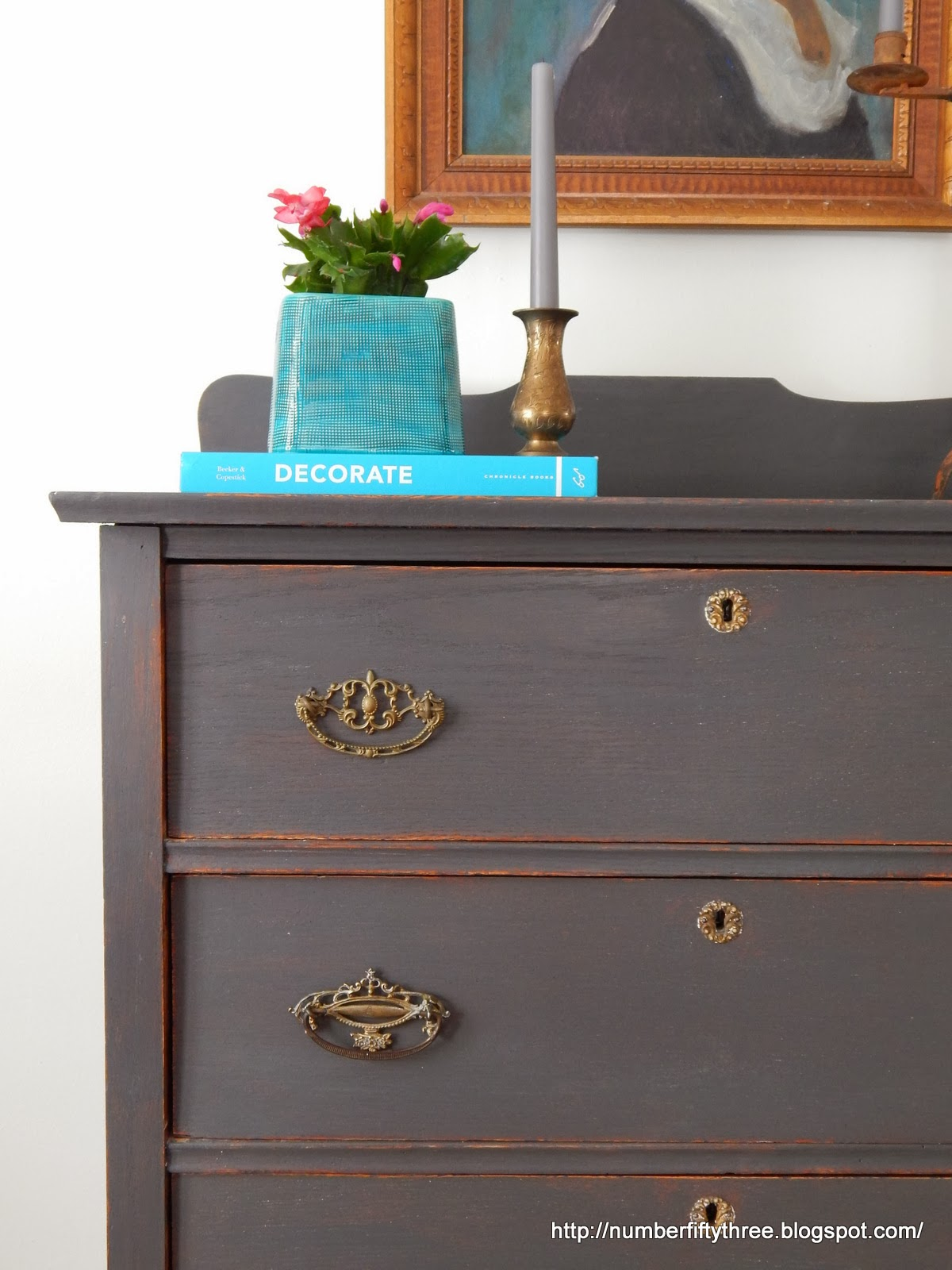 Number Fifty Three Charcoal Gray And Brass Antique Dresser