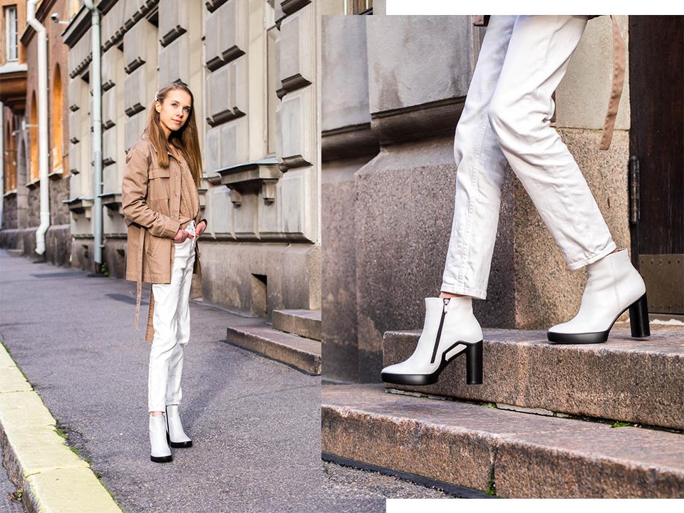 Helsinki streetstyle with white leather ankle boots - Helsinki muotibloggaaja