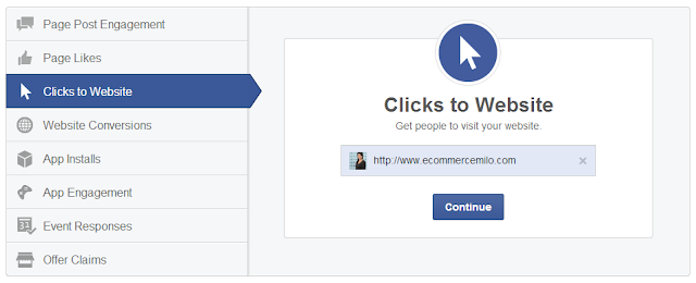 Facebook advertising: Clicks to Website