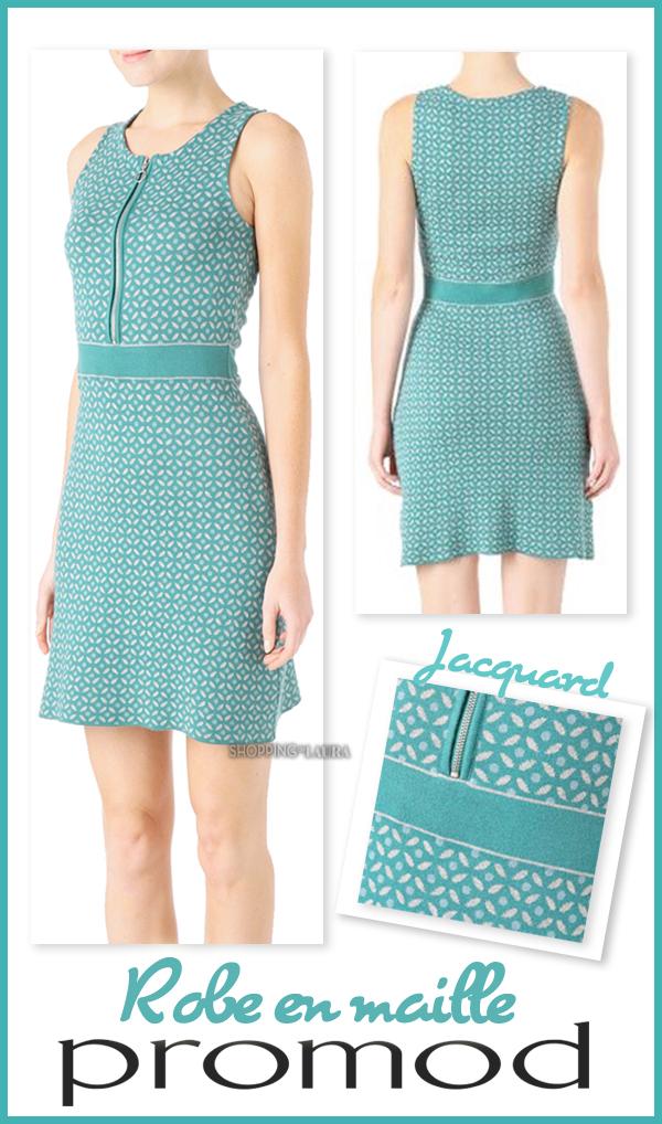 Ravissante robe en maille turquoise PROMOD