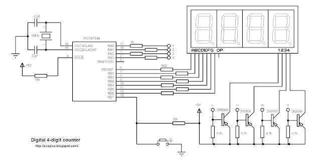 pic16f84a 7 segment common anode counter ccs pic c