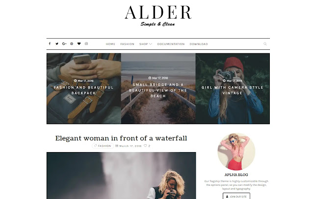 Alder Responsive Personal Blog Fashions Girly Update Blogger Template Theme