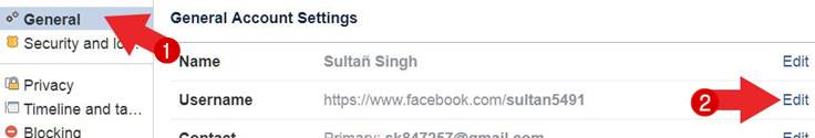 facebook username change kaise kare