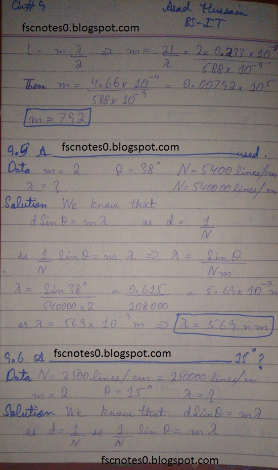 F.Sc ICS Notes: Physics XI: Chapter 9 Physical Optics Numerical Problems Asad Hussain 2
