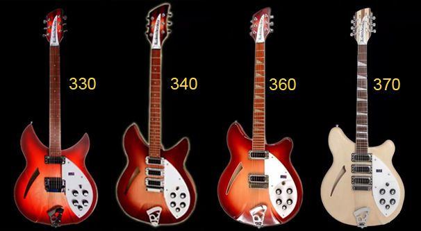 Diferentes Modelos de Guitarra Rickenbacker de Cuerpo Semisólido