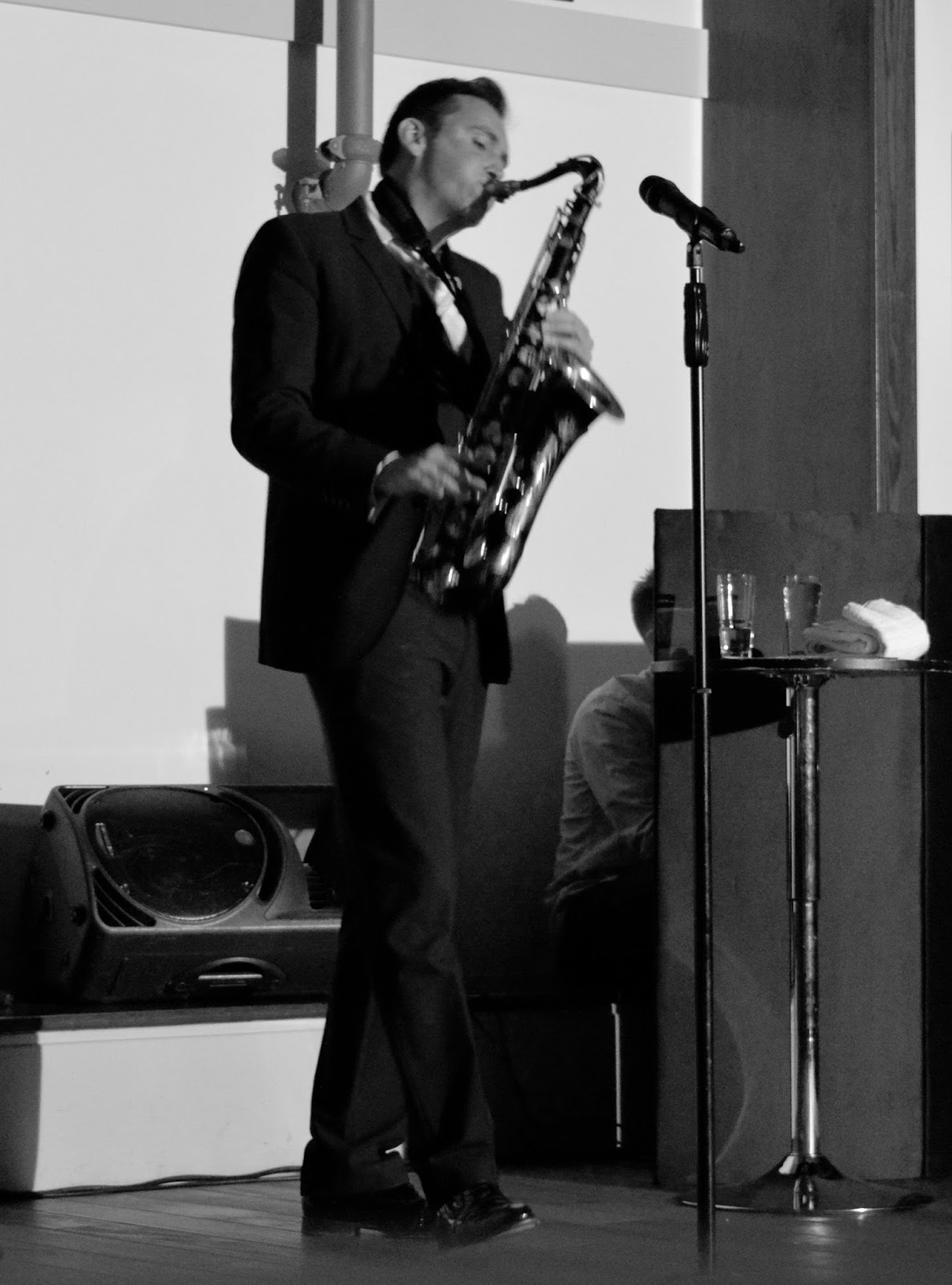 A grown-up date night at Doubletree by Hilton Newcastle Airport with a night of swing and sax with Jason Isaacs in the function room.  - Jason playing sax